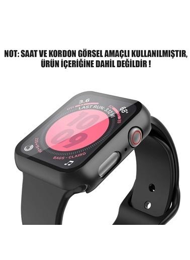 Microsonic Apple Watch Series 4 44mm Kılıf Matte Premium Slim WatchBand Siyah Siyah